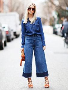 Джинсовые брюки кюлоты ниже колена фото