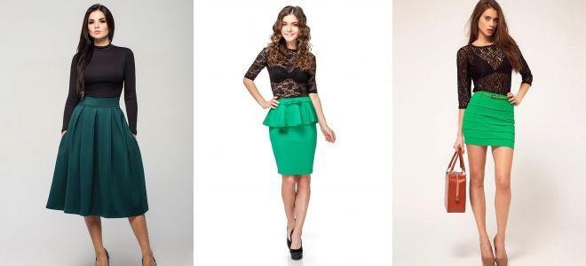 Зелёная юбка с кружевной кофтой фото