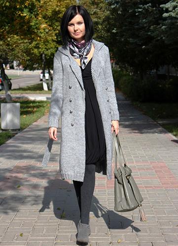 Серое пальто оверсайз фото