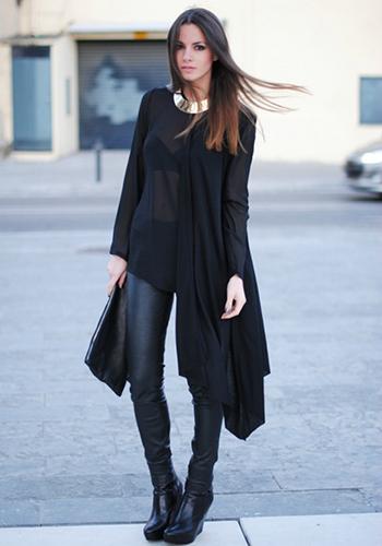 Кожаные штаны под чёрный кардиган фото