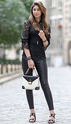 Кожаные штаны под кружевную блузу фото