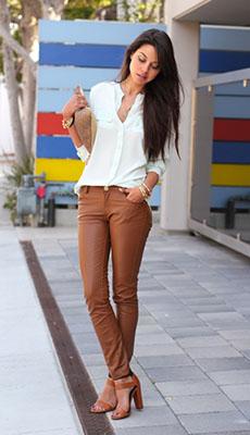Кожаные брюки под каблуки фото
