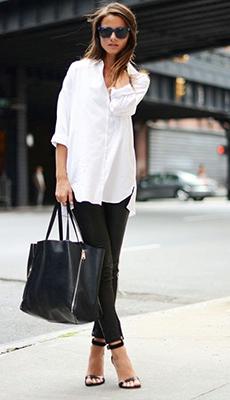 Кожаные штаны с белой рубашкой фото