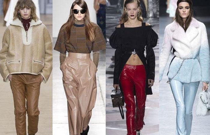 Кожаные брюки разных цветов фото