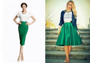 Модельные зелёные юбки фото