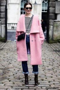 Женское розовое пальто оверсайз фото