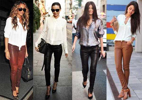 Стильные кожаные брюки фото