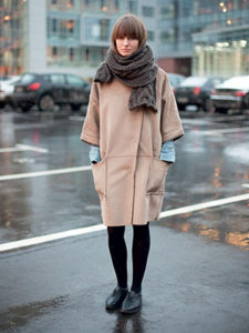 Пальто оверсайз с укороченным рукавом фото
