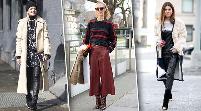 Бордовые брюки из экокожи фото