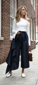 Стильные широкие брюки кюлоты фото