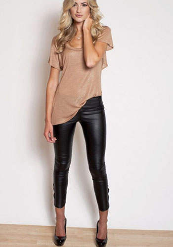 Узкие кожаные брюки фото