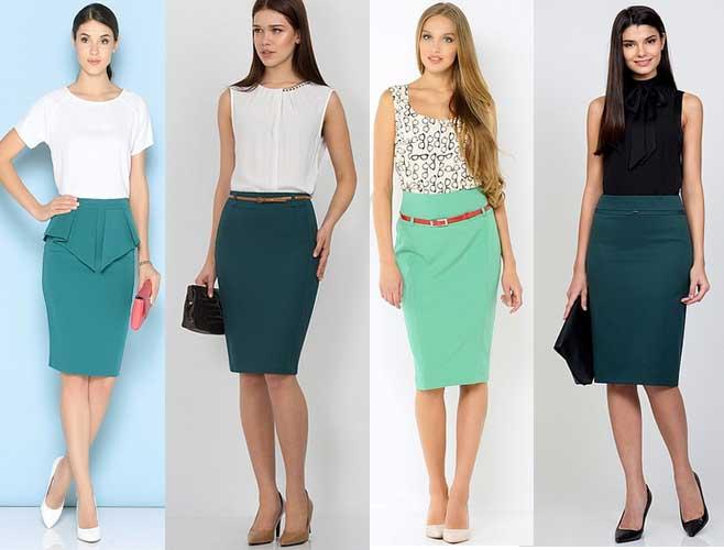 Прямые зелёные юбки фото