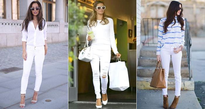 Белый прикид с джинсами скинни фото