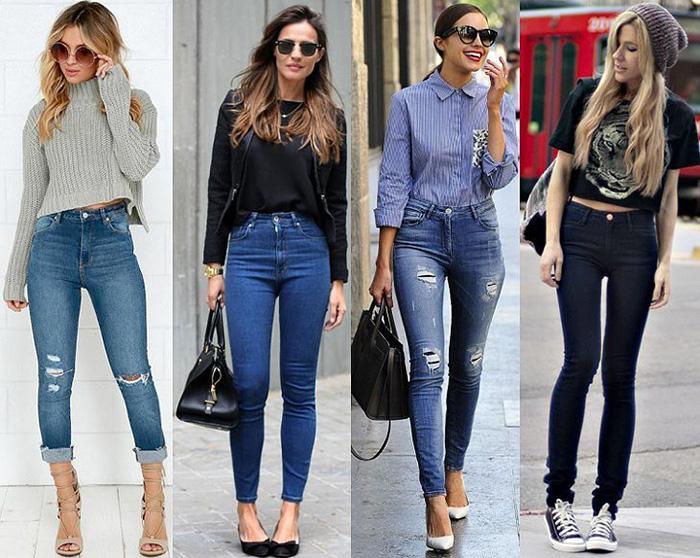 Современные джинсы скинни фото