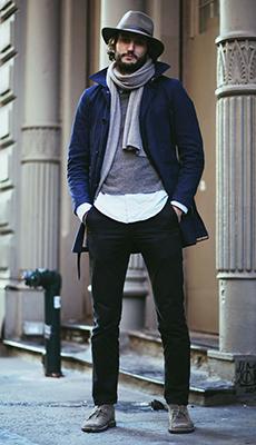 Мужское пальто с шарфом фото