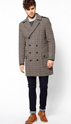 Двубортное мужское пальто фото