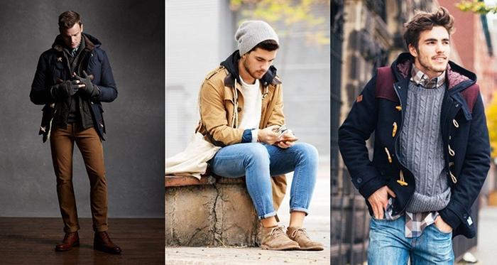 Бежевое мужское пальто фото
