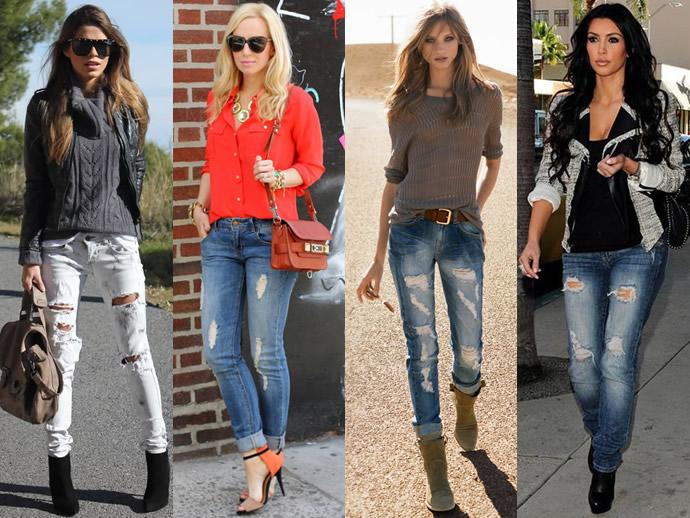 Разные рваные джинсы скинни фото