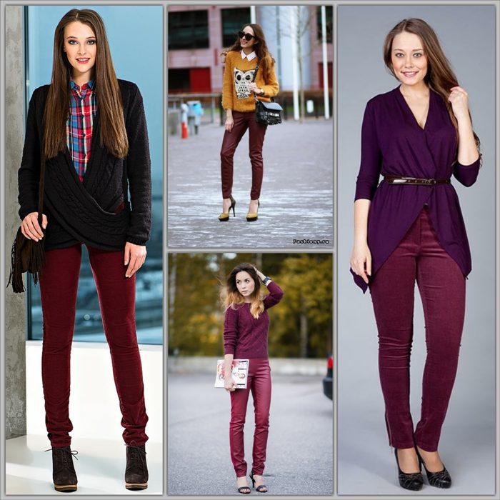 Разные образы с бордовыми джинсами скинни фото