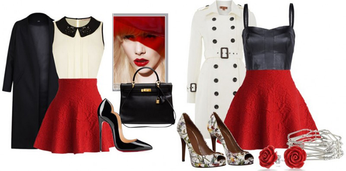 Короткая расклешённая красная юбка фото