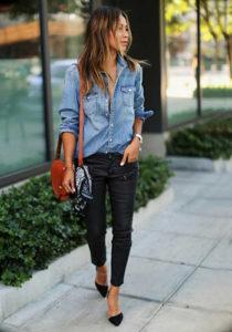 Рубашка из джинса под узкие брюки фото