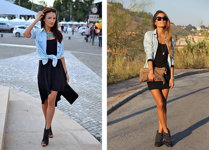 Джинсовая рубашка подщ короткое чёрное платье фото