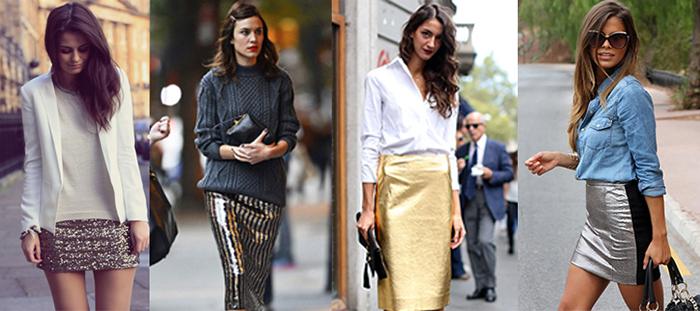Стильные модели блестящих юбок фото