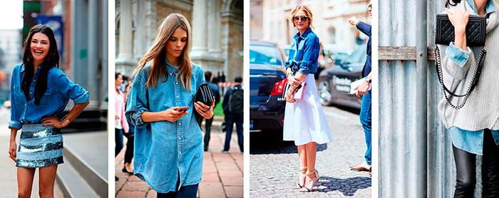Разные модели современной джинсовой рубашки фото