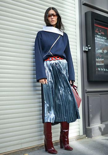 Блестящая юбка осенью фото