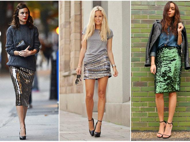 Стильные юбки из металлизированных тканей фото