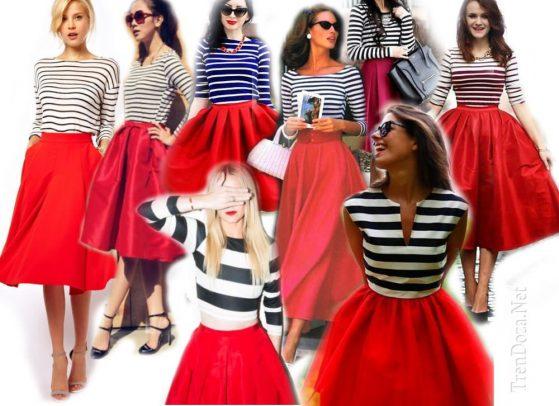 Красная юбка под полосатую футболку фото