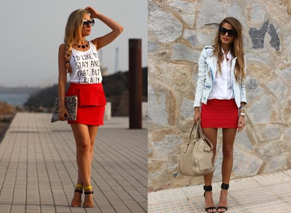 Коротенькая юбка красного цвета фото