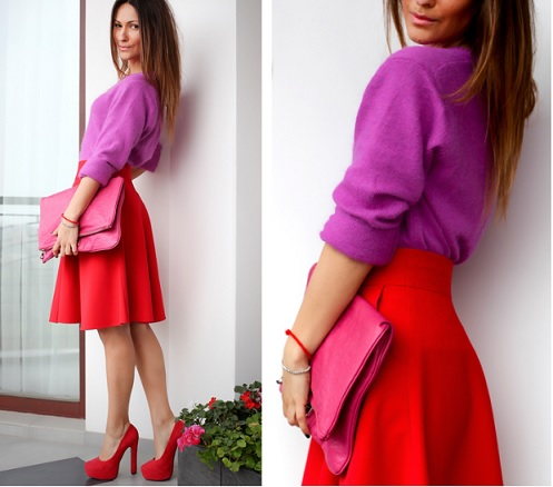 Красная юбка под красные туфли фото