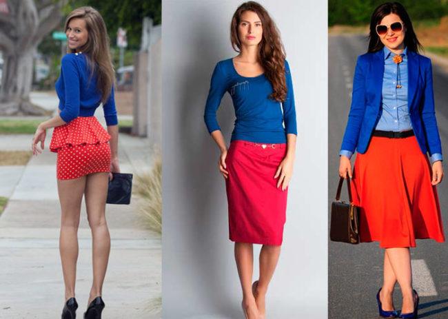 Разные модели красной юбки фото