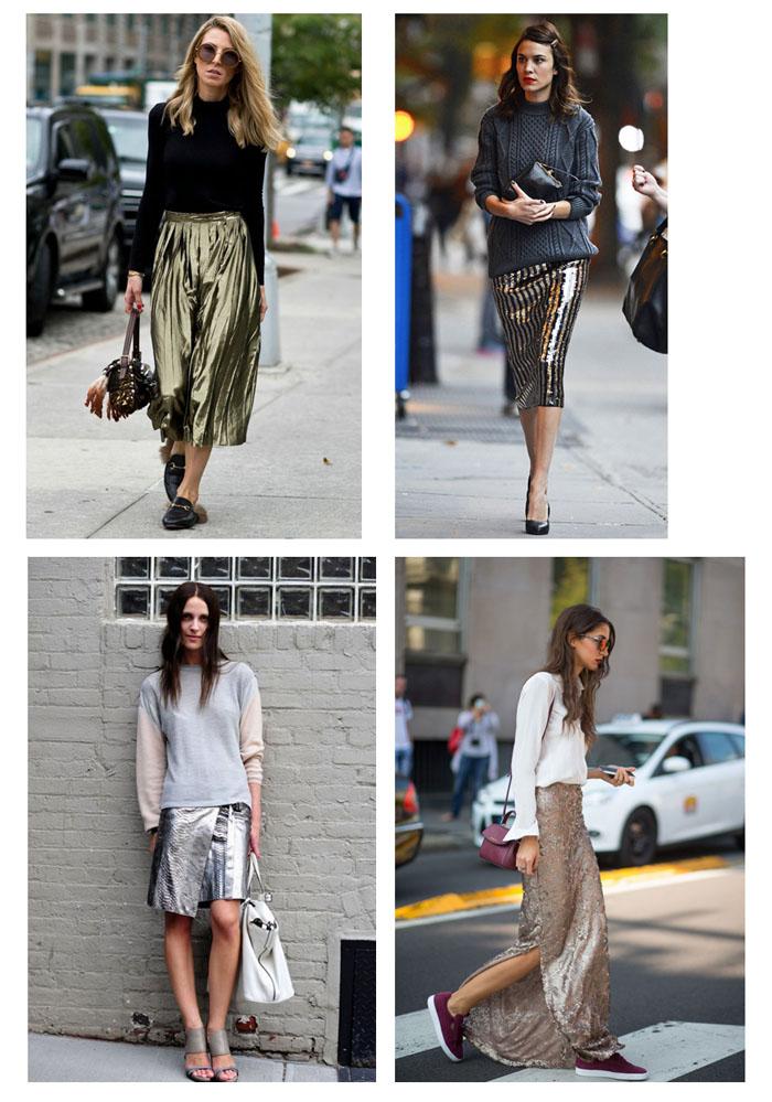 Уличные модели с блестящими юбками фото