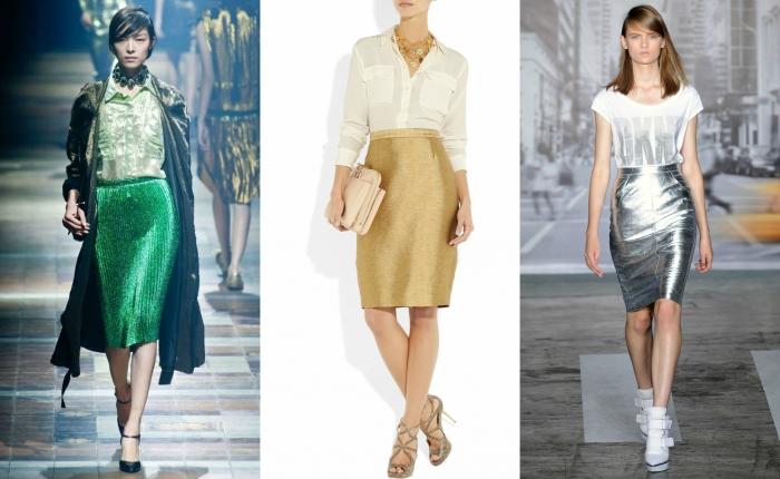 Блестящие юбки на подиуме фото