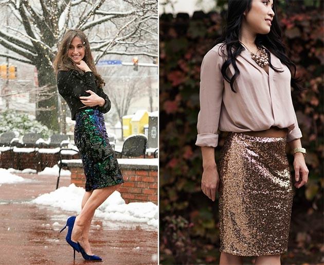 Блестящая юбка зимой фото