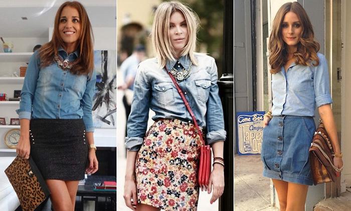 Стильные рубашки из джинса фото