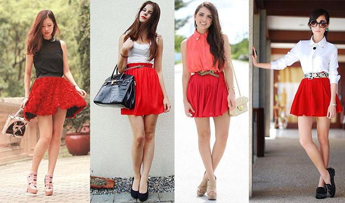 Короткая красная юбка фото