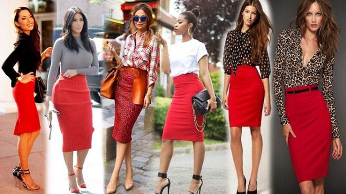 Современные модели красной юбки фото