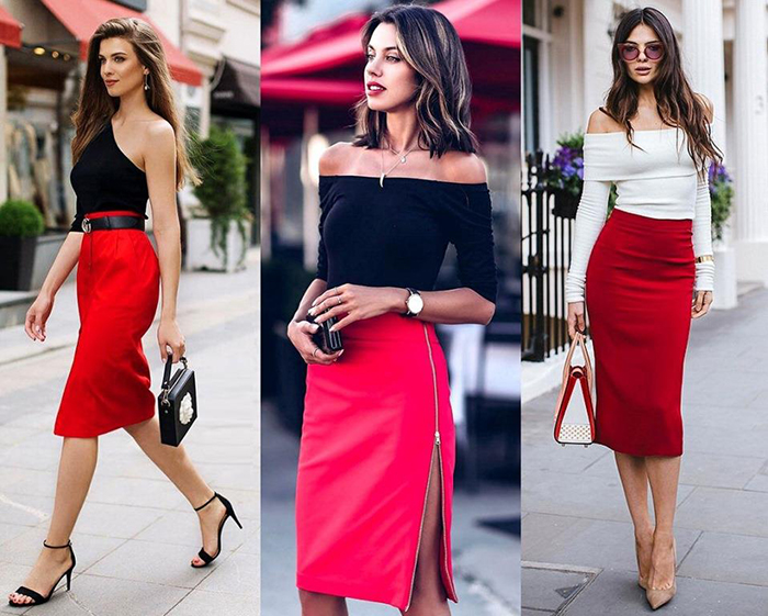 Красная юбка под топ фото