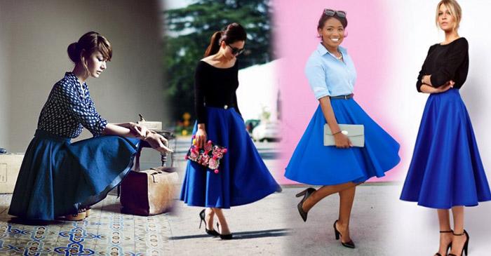Длинная юбка солнце синего цвета фото