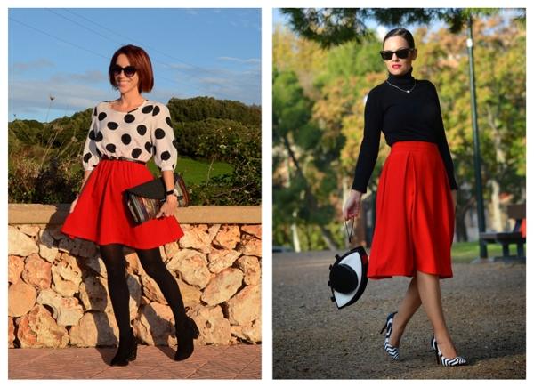 Широкая красная юбка фото