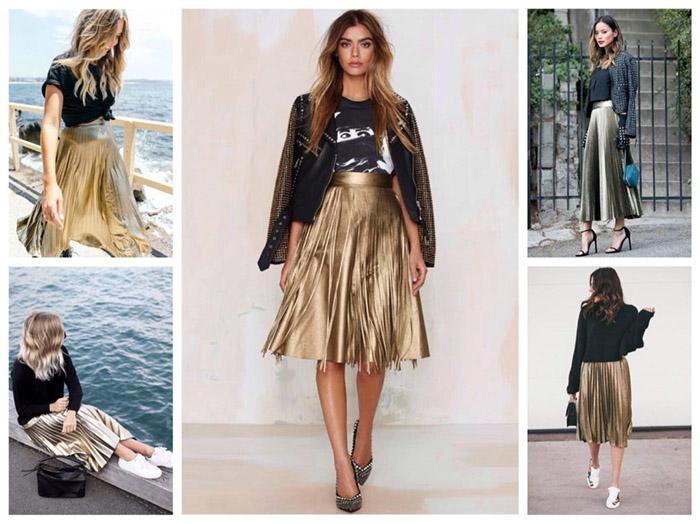 Современные юбки из золотой ткани фото
