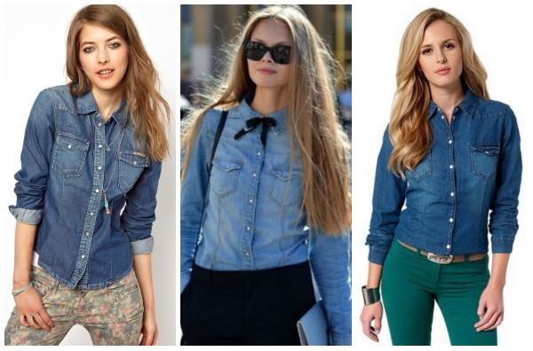 Разные фасоны джинсовой рубашки фото