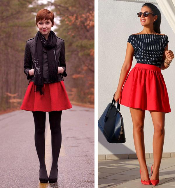 Красная юбка осенью фото