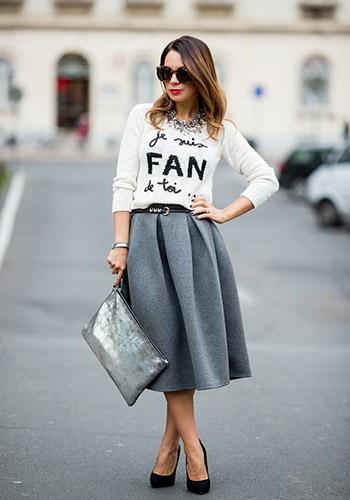 Современная юбка солнце серого цвета фото