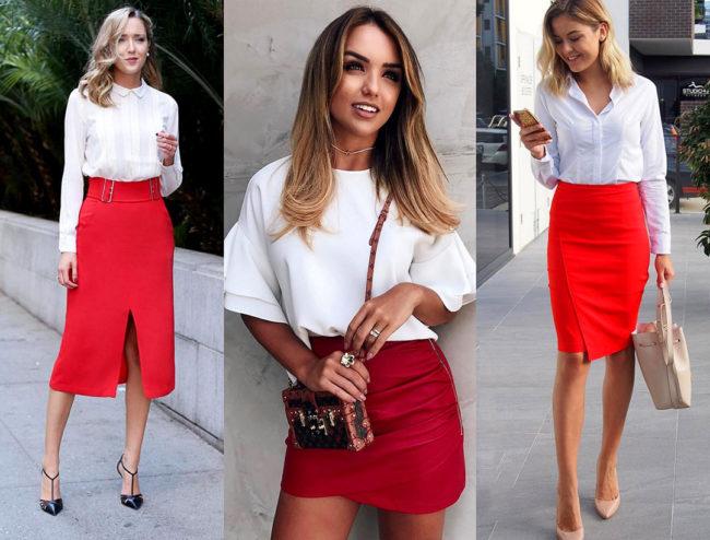 Красная юбка весной фото