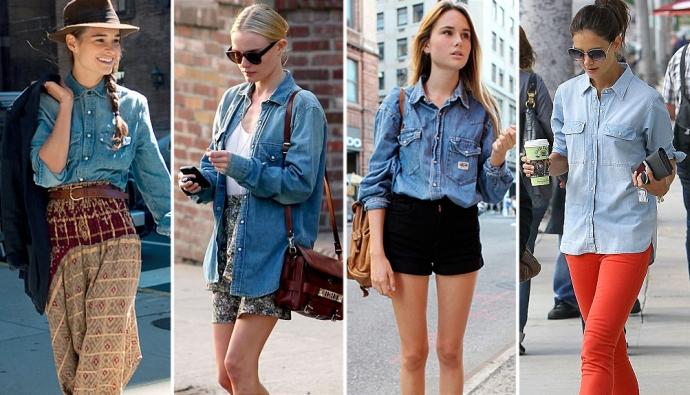 Шикарные модели джинсовой рубашки фото