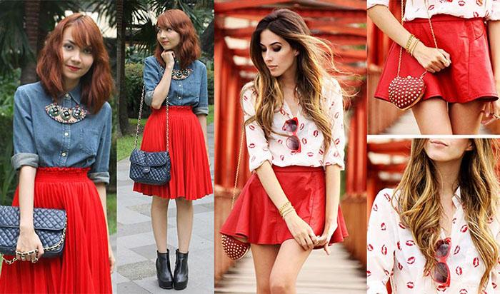 Стильная красная юбка фото